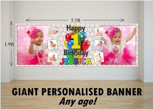 Personalised GIANT Large Girls Boys 1st First 2nd 3rd 4th 5th Happy Birthday PHOTO Poster Banner N53 ANY AGE